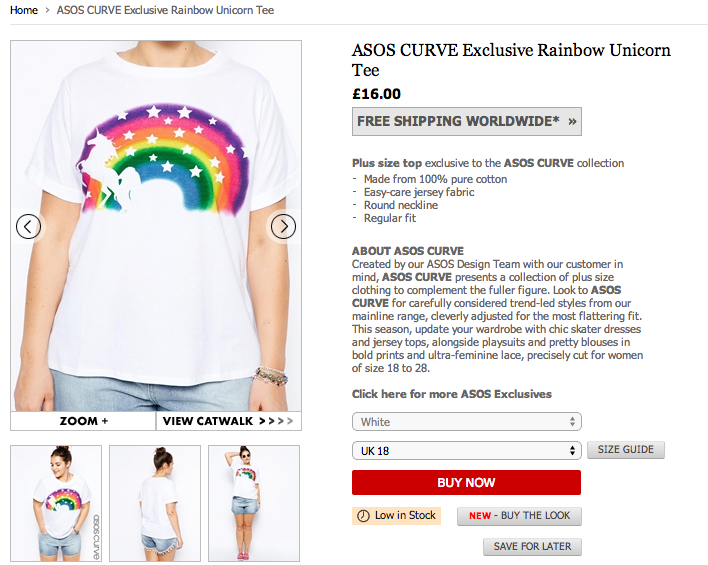 Rainbow unicorn t-shirt from asos curve