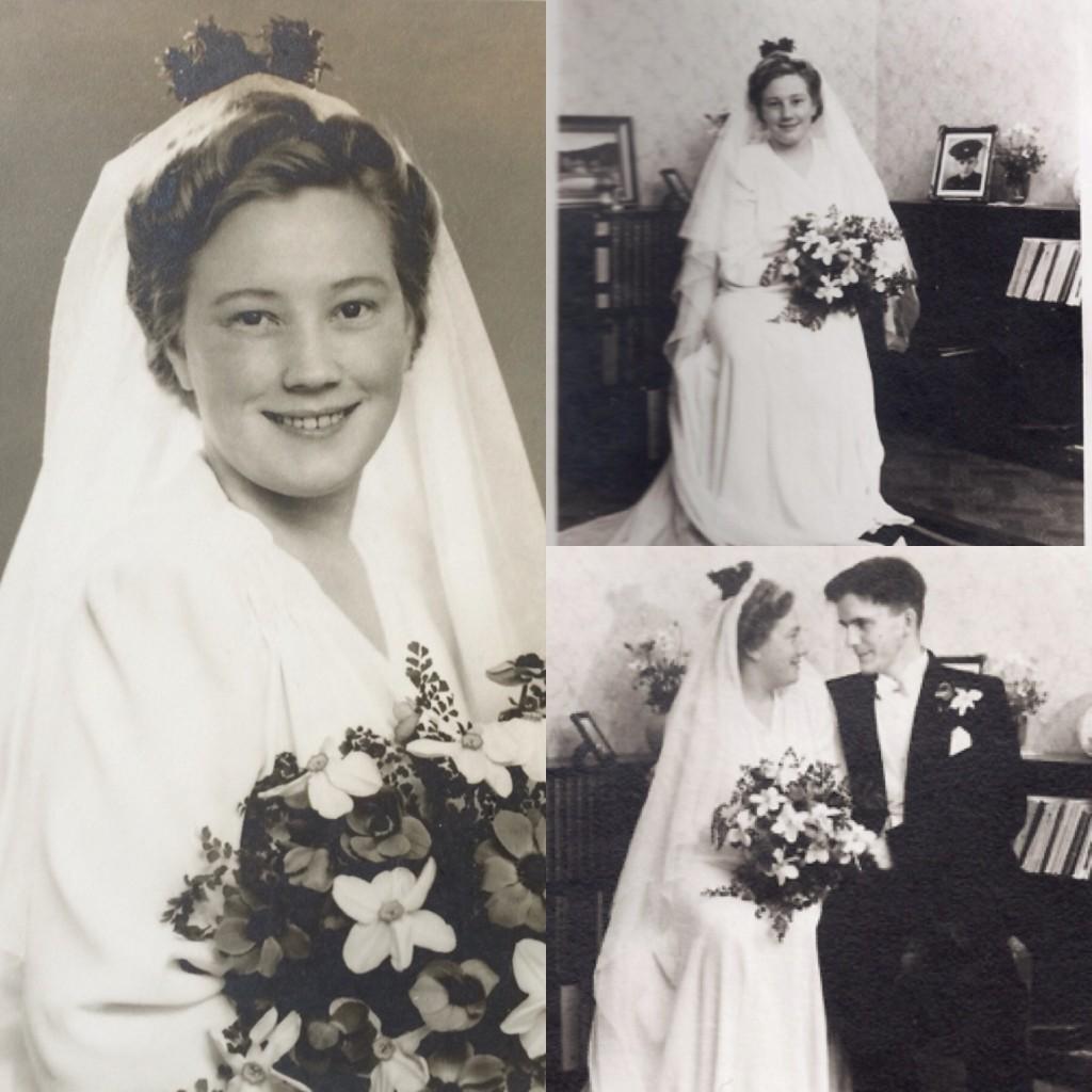 Min mormor Brita Thobias i brudklänningen. Bilder från 1945, verkar tyvärr inte finnas någon stående.